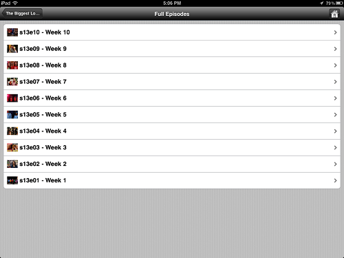 The show menu within the PlayOn iPad app