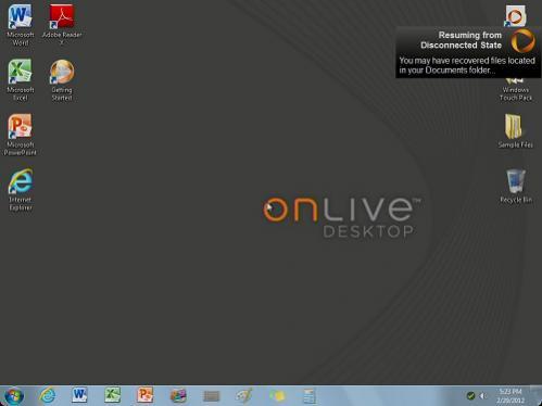 OnLive Desktop Windows desktop
