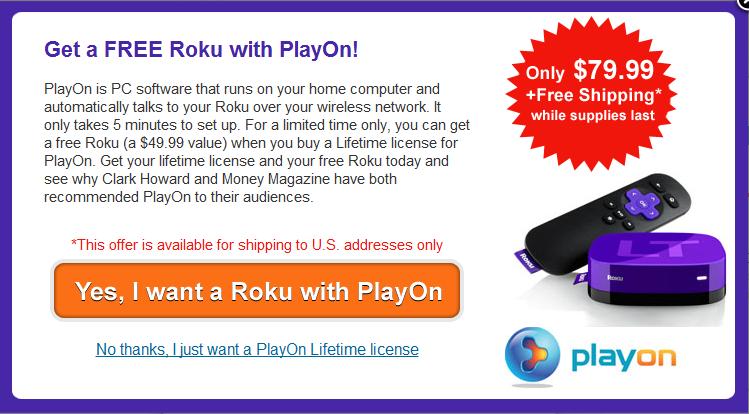 Free Roku with PlayOn