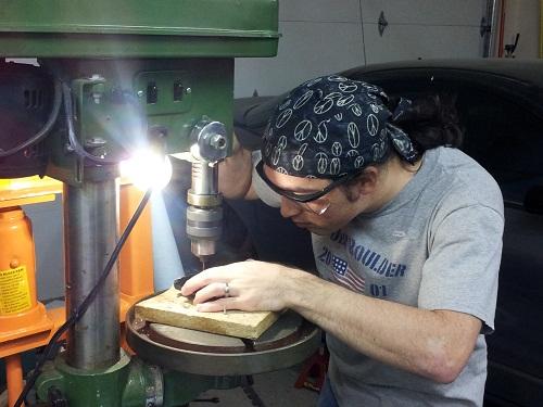 Erik Arentzen machining a case for the tuxgraphics smartphone garage door operner