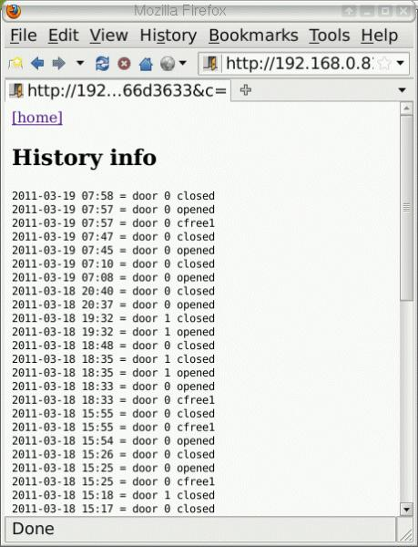 tuxgraphics smartphone garage door opener history page